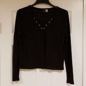 Black Lace-up H&M Shirt